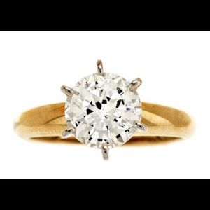 14K Gold 2 CT 100 Facet CZ Simulated Diamond Ring
